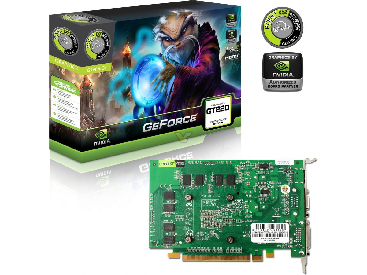Point Of View Geforce Gt 220 1gb Vga Card Gt220 Box Front Other