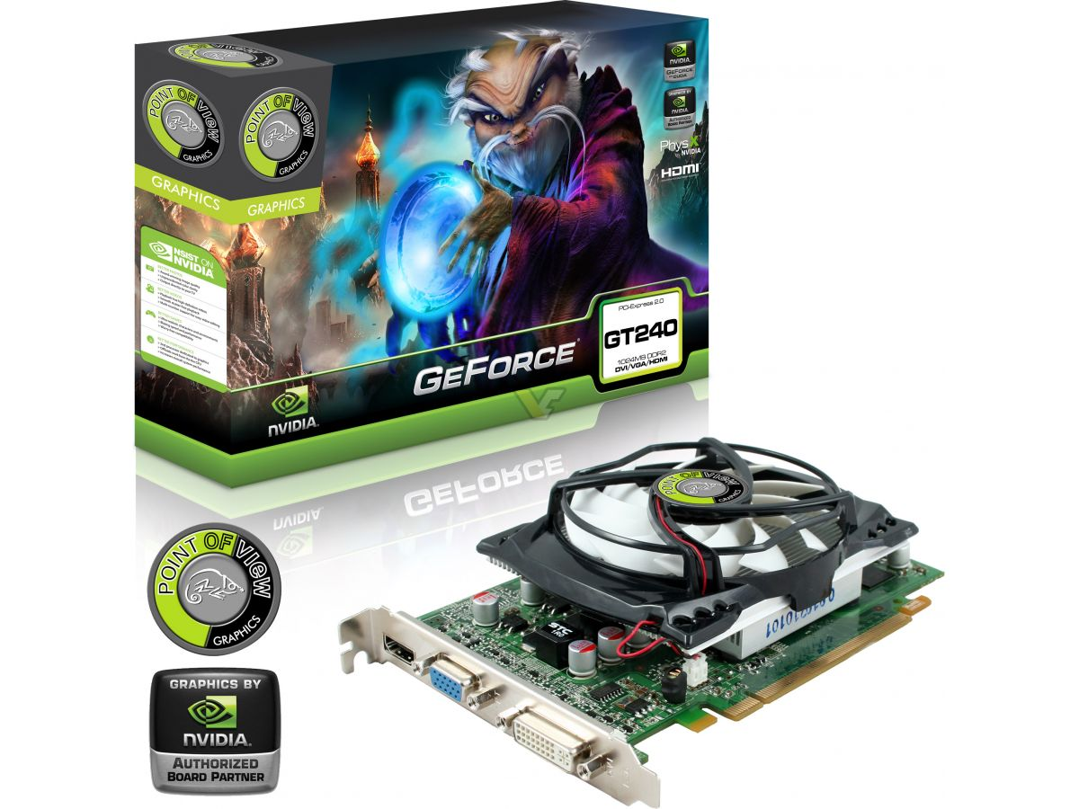 Point Of View Geforce Gt 240 1gb Vga 256mb 128bit D2 D3 Box Front